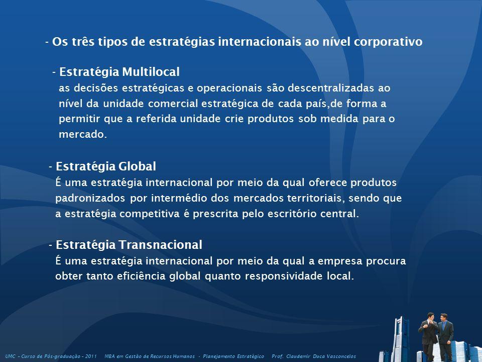 - Os três tipos de estratégias internacionais ao nível corporativo