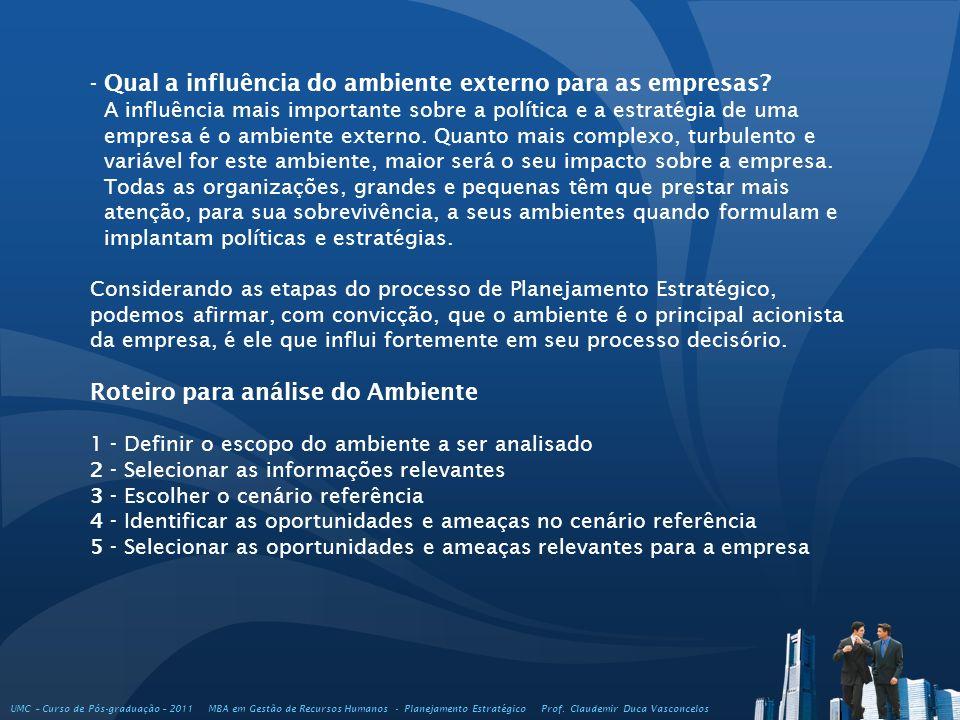 - Qual a influência do ambiente externo para as empresas