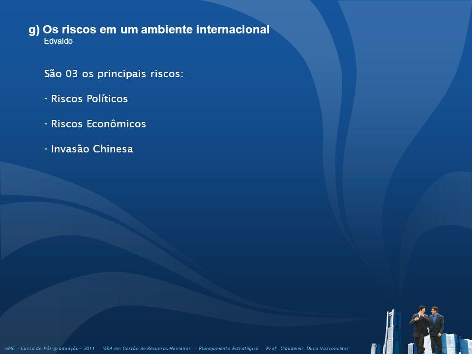 g) Os riscos em um ambiente internacional