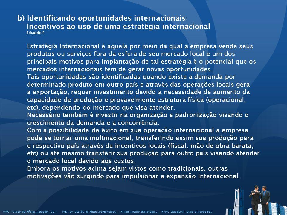 b) Identificando oportunidades internacionais