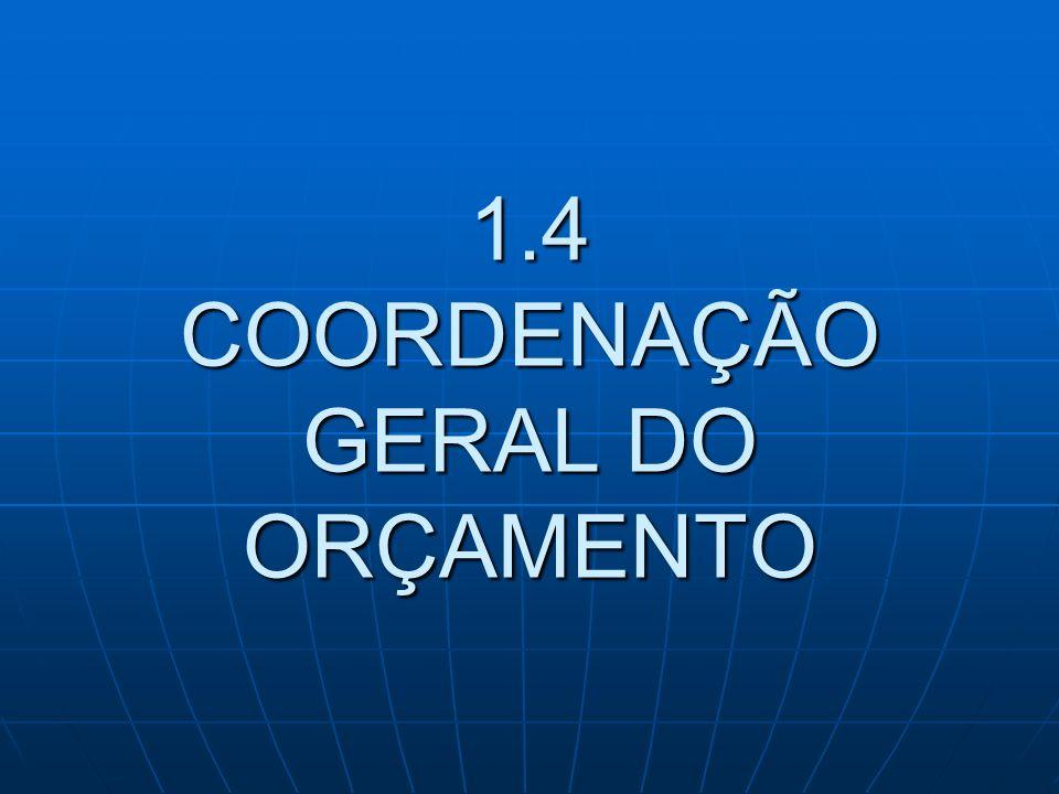 1.4 COORDENAÇÃO GERAL DO ORÇAMENTO