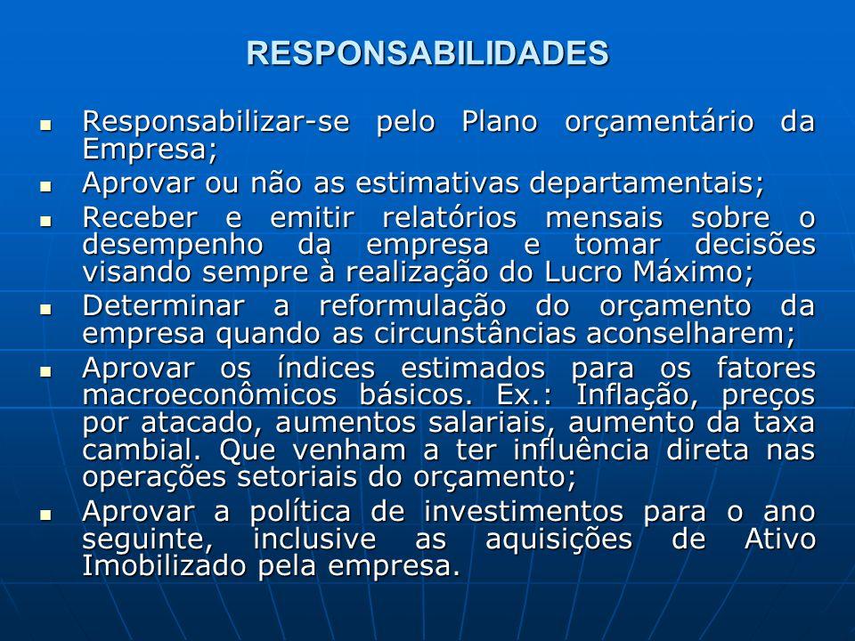 RESPONSABILIDADES Responsabilizar-se pelo Plano orçamentário da Empresa; Aprovar ou não as estimativas departamentais;