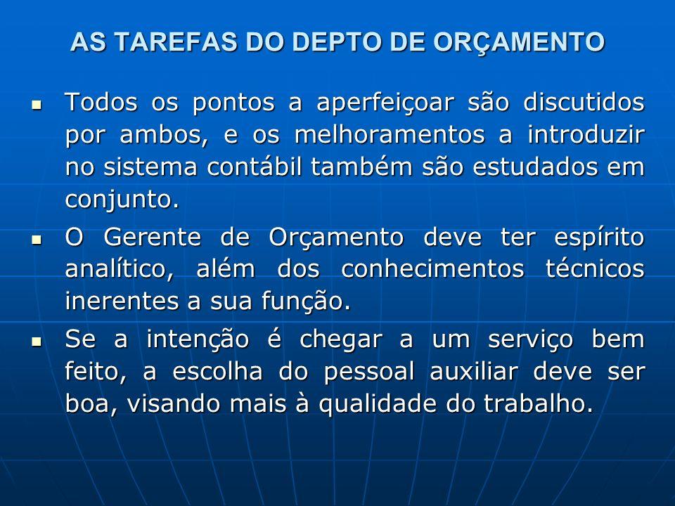 AS TAREFAS DO DEPTO DE ORÇAMENTO