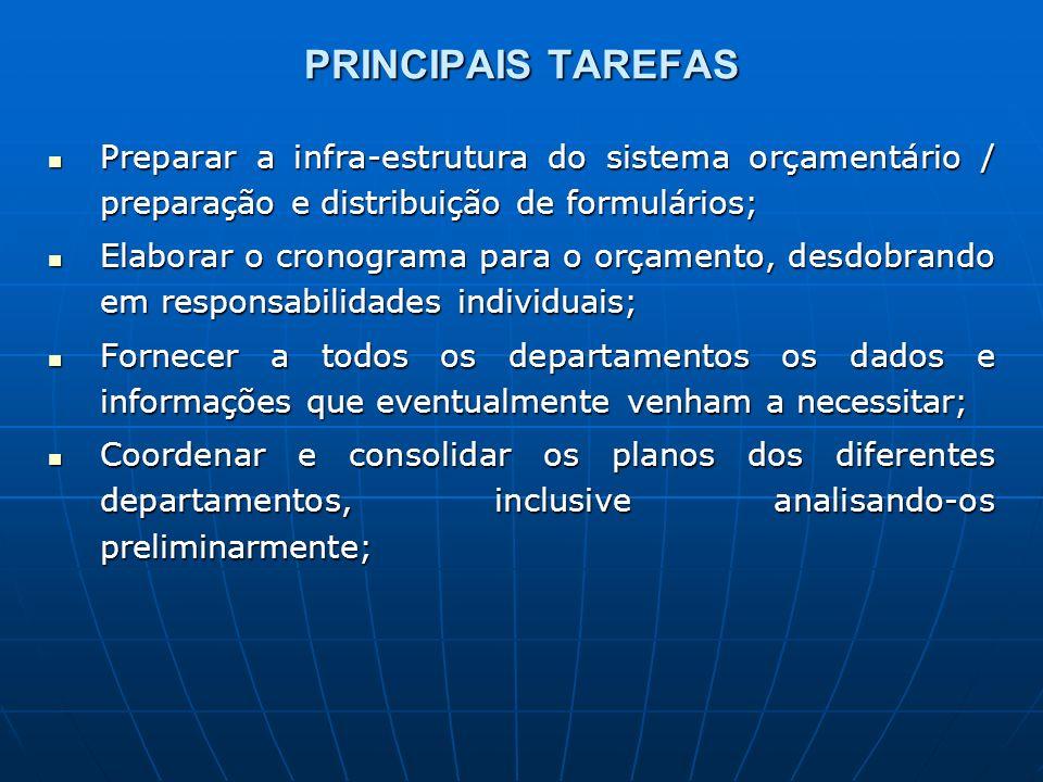PRINCIPAIS TAREFAS Preparar a infra-estrutura do sistema orçamentário / preparação e distribuição de formulários;