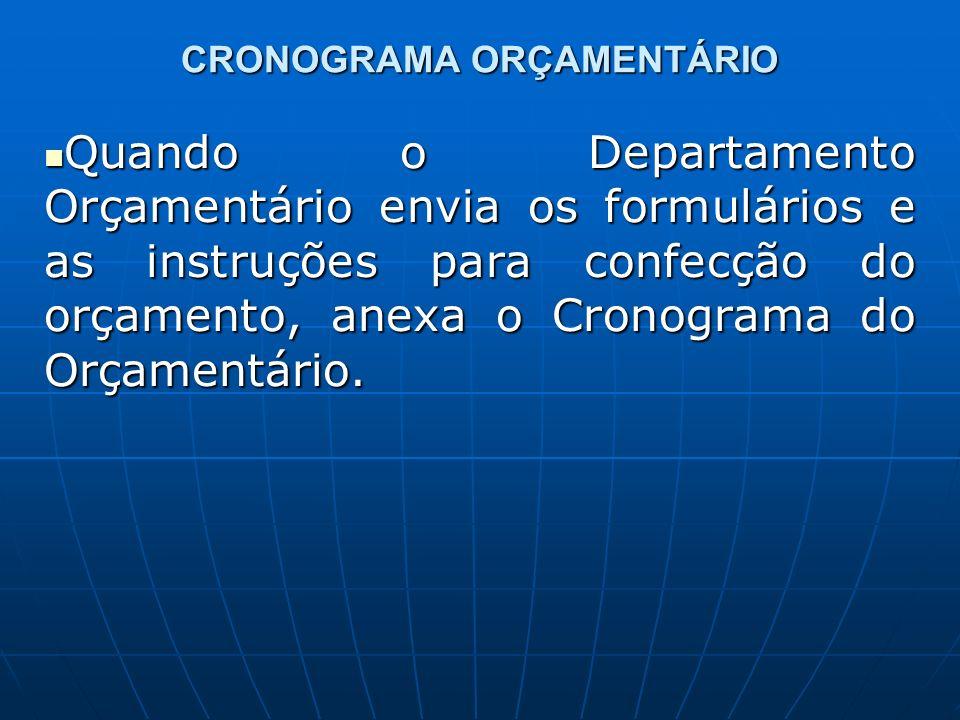 CRONOGRAMA ORÇAMENTÁRIO