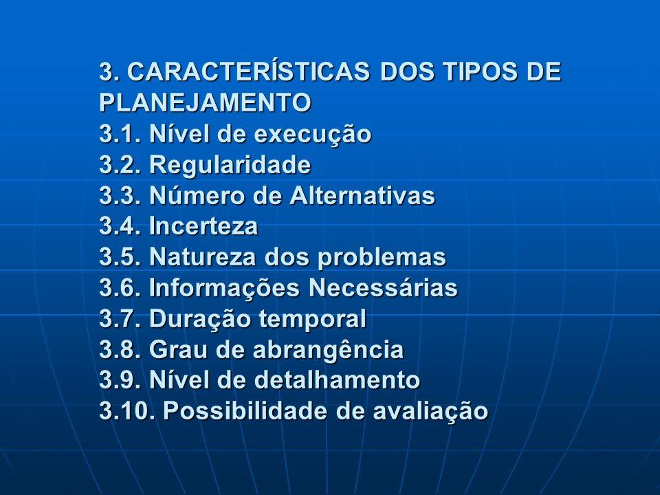 3. CARACTERÍSTICAS DOS TIPOS DE PLANEJAMENTO 3. 1. Nível de execução 3