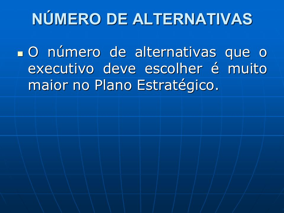 NÚMERO DE ALTERNATIVAS