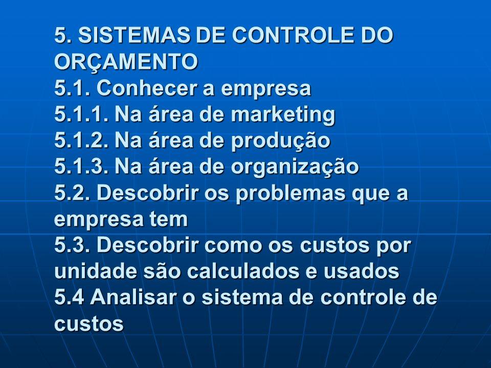 5. SISTEMAS DE CONTROLE DO ORÇAMENTO 5. 1. Conhecer a empresa 5. 1. 1