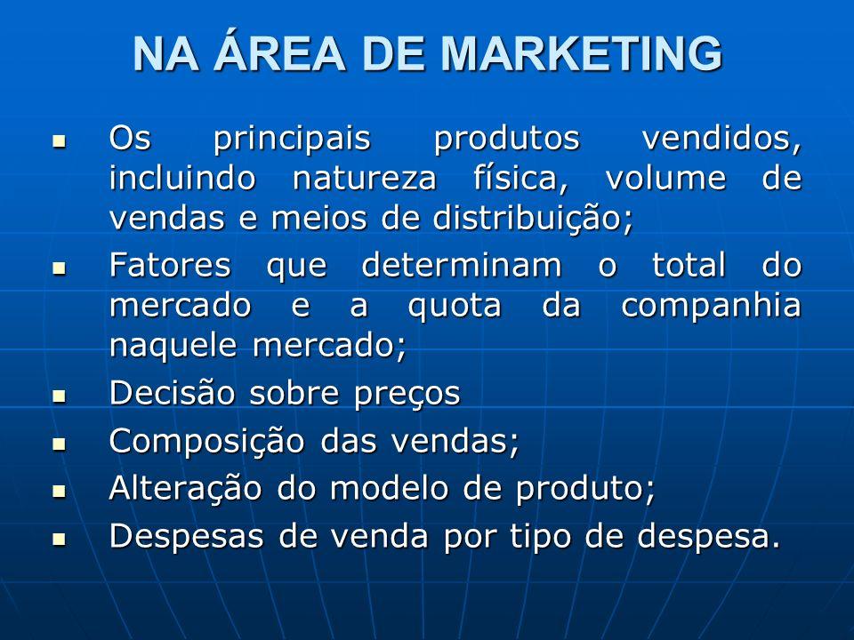 NA ÁREA DE MARKETING Os principais produtos vendidos, incluindo natureza física, volume de vendas e meios de distribuição;