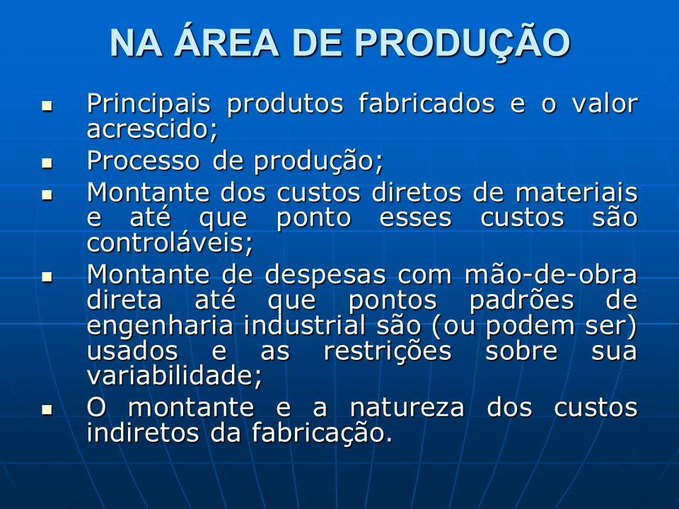 NA ÁREA DE PRODUÇÃO Principais produtos fabricados e o valor acrescido; Processo de produção;