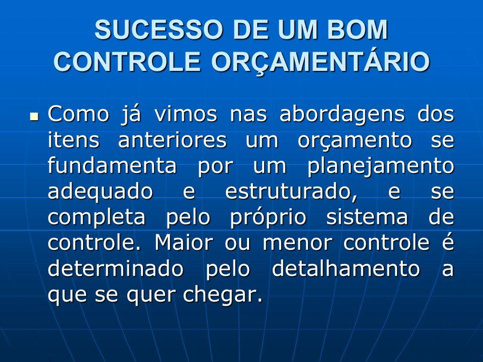 SUCESSO DE UM BOM CONTROLE ORÇAMENTÁRIO