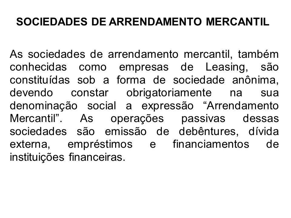 SOCIEDADES DE ARRENDAMENTO MERCANTIL