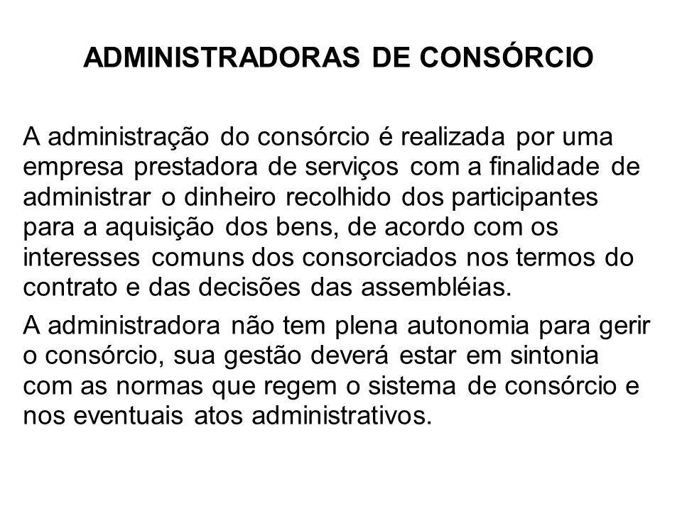 ADMINISTRADORAS DE CONSÓRCIO