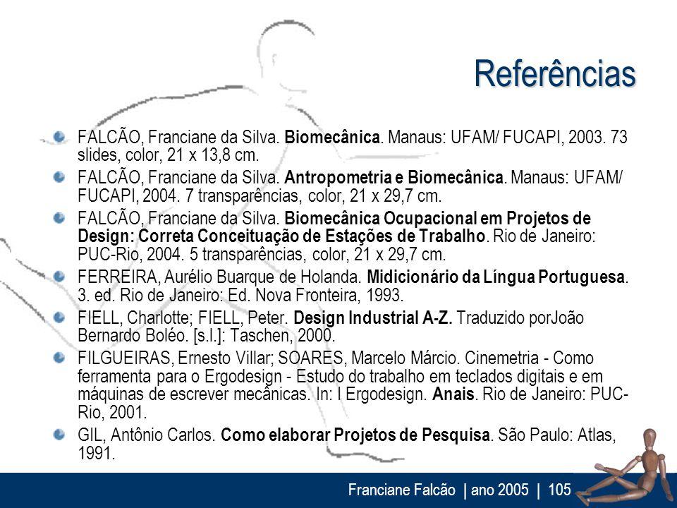 ReferênciasFALCÃO, Franciane da Silva. Biomecânica. Manaus: UFAM/ FUCAPI, 2003. 73 slides, color, 21 x 13,8 cm.