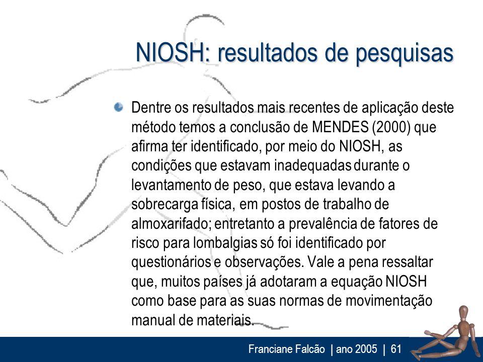 NIOSH: resultados de pesquisas