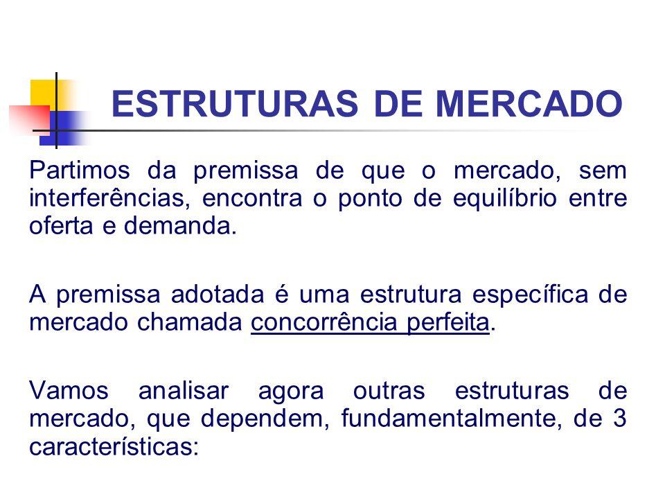 ESTRUTURAS DE MERCADO Partimos da premissa de que o mercado, sem interferências, encontra o ponto de equilíbrio entre oferta e demanda.