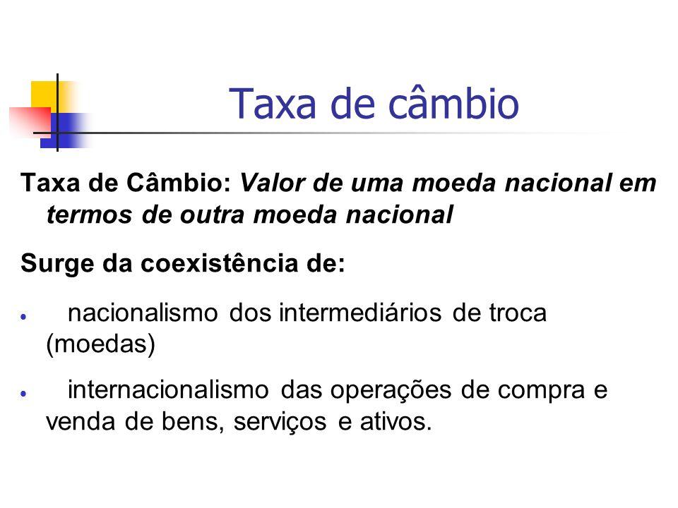 Taxa de câmbio Taxa de Câmbio: Valor de uma moeda nacional em termos de outra moeda nacional. Surge da coexistência de: