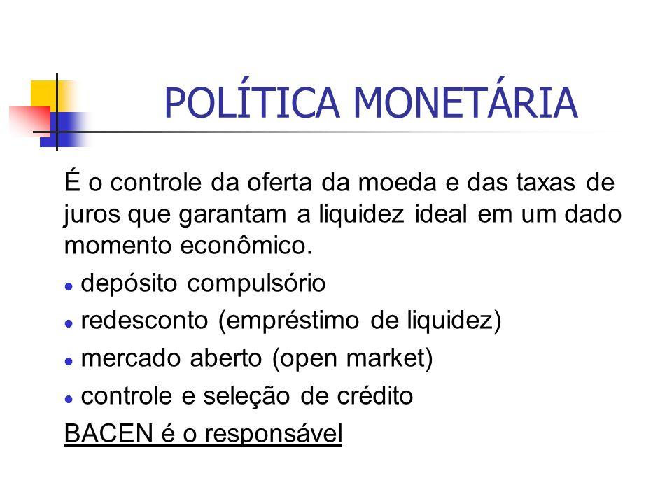 POLÍTICA MONETÁRIA É o controle da oferta da moeda e das taxas de juros que garantam a liquidez ideal em um dado momento econômico.