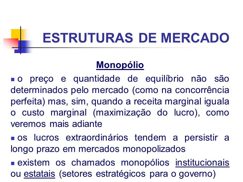 ESTRUTURAS DE MERCADO Monopólio