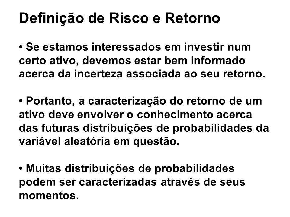 Definição de Risco e Retorno • Se estamos interessados em investir num certo ativo, devemos estar bem informado acerca da incerteza associada ao seu retorno.
