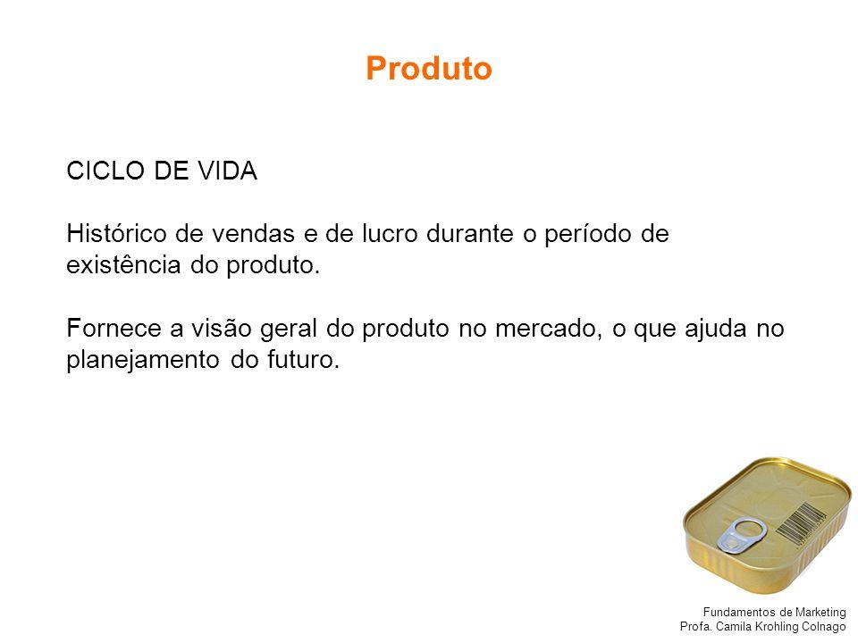 Produto CICLO DE VIDA. Histórico de vendas e de lucro durante o período de existência do produto.