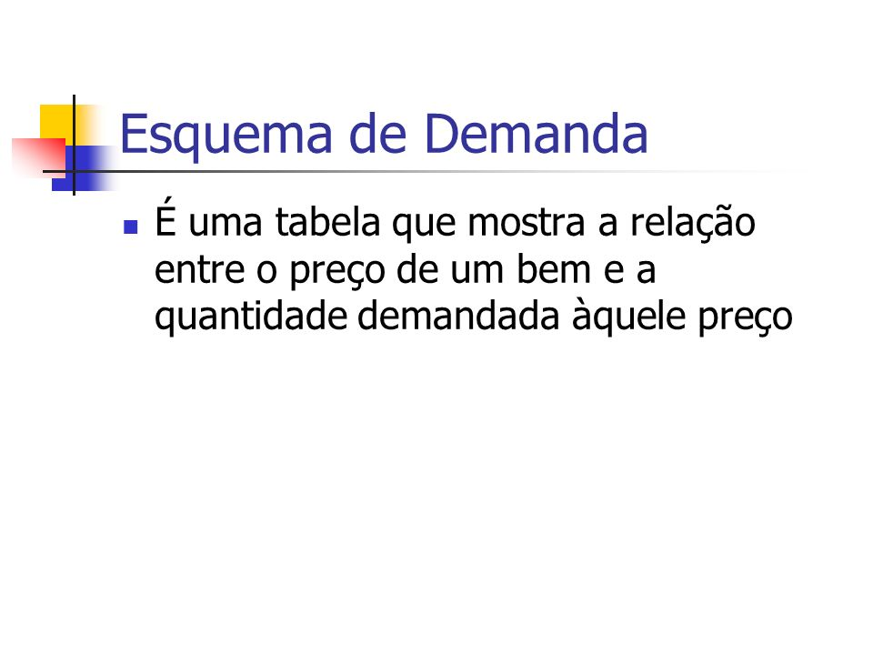 Esquema de Demanda É uma tabela que mostra a relação entre o preço de um bem e a quantidade demandada àquele preço.