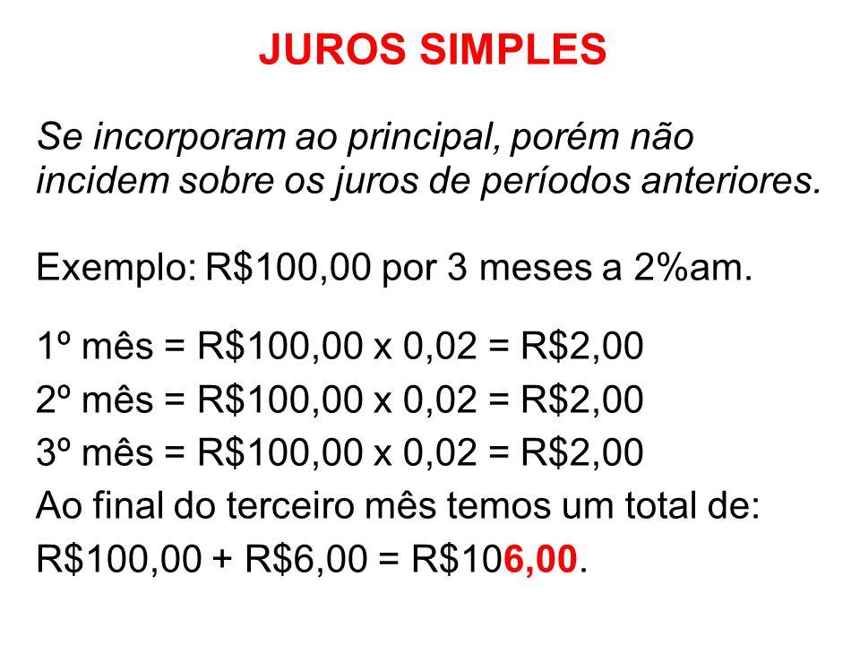 JUROS SIMPLESSe incorporam ao principal, porém não incidem sobre os juros de períodos anteriores. Exemplo: R$100,00 por 3 meses a 2%am.