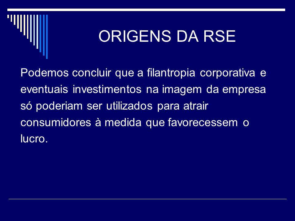 ORIGENS DA RSE Podemos concluir que a filantropia corporativa e
