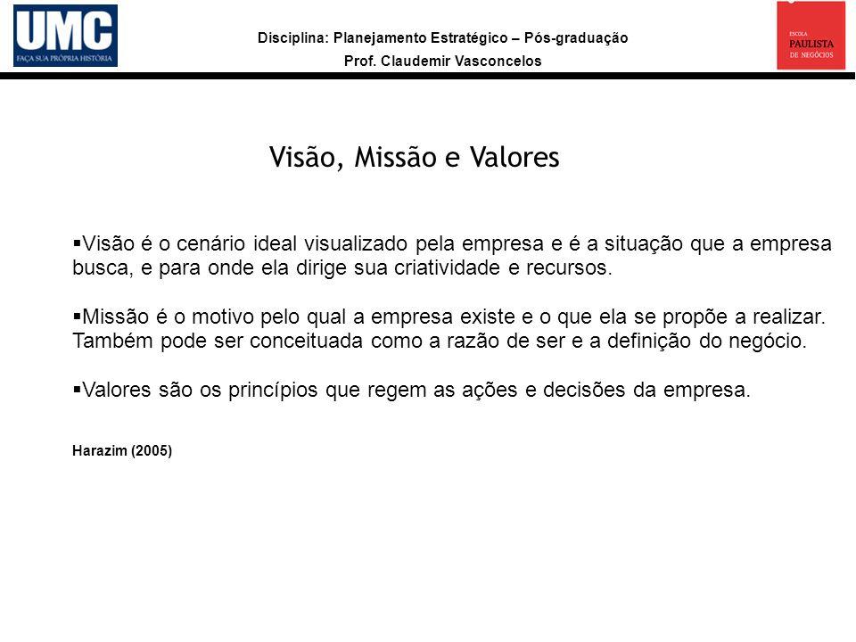 Visão, Missão e Valores Visão é o cenário ideal visualizado pela empresa e é a situação que a empresa.