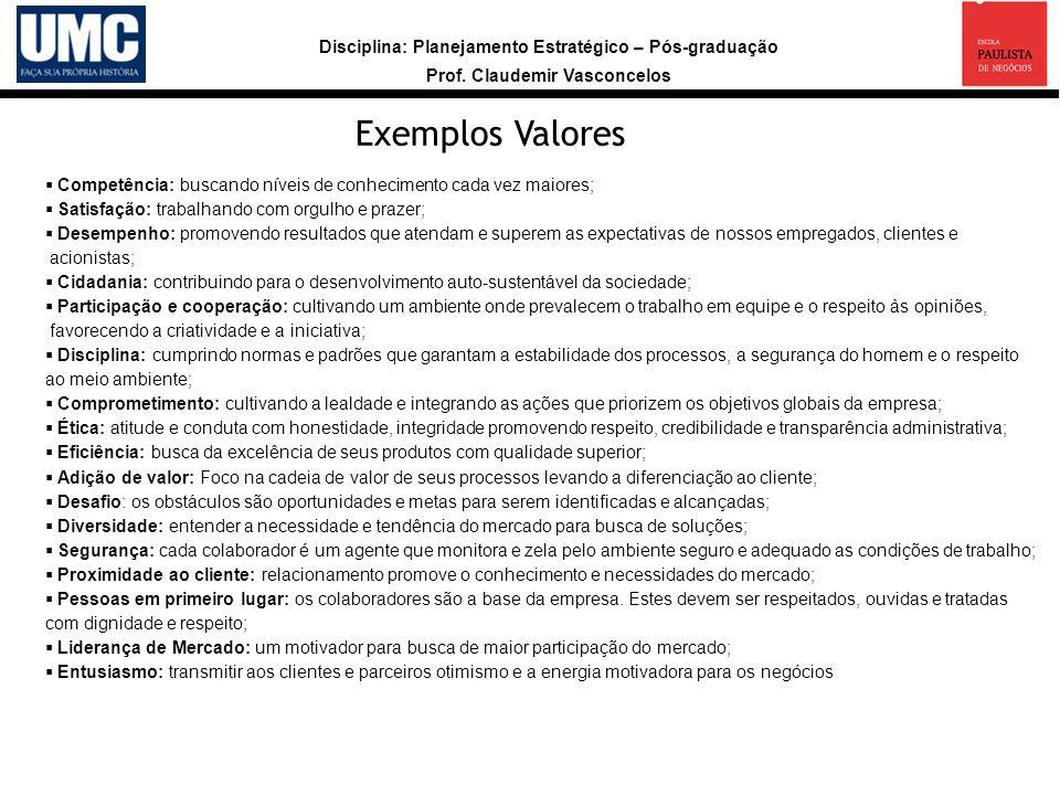 Exemplos Valores Competência: buscando níveis de conhecimento cada vez maiores; Satisfação: trabalhando com orgulho e prazer;
