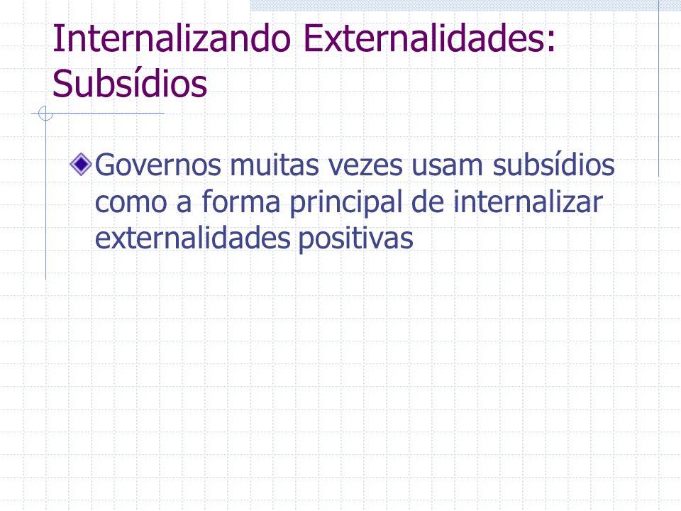 Internalizando Externalidades: Subsídios