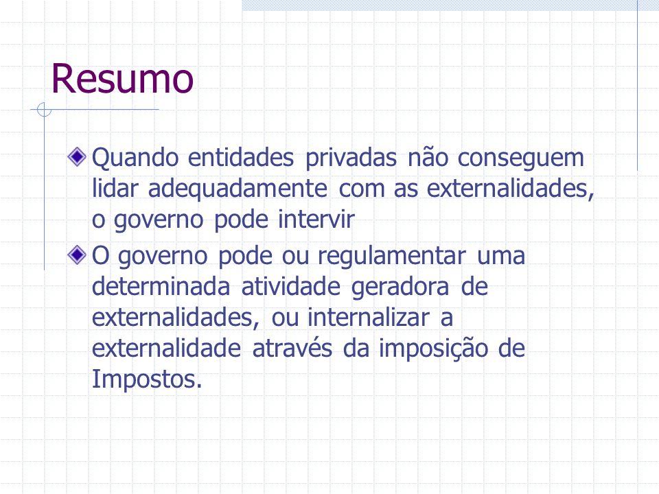 Resumo Quando entidades privadas não conseguem lidar adequadamente com as externalidades, o governo pode intervir.