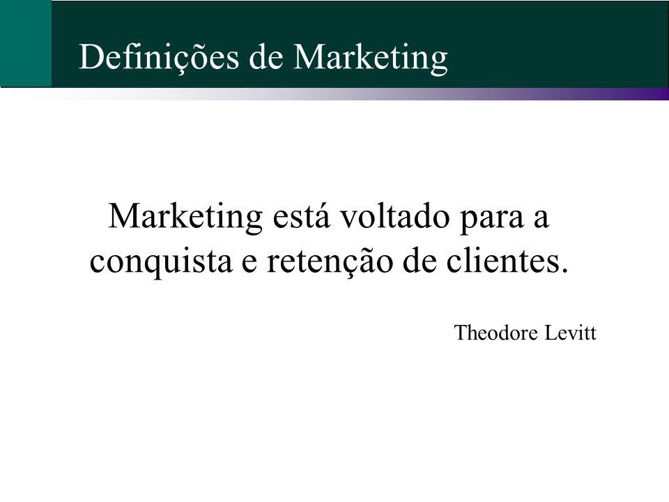 Marketing está voltado para a conquista e retenção de clientes.