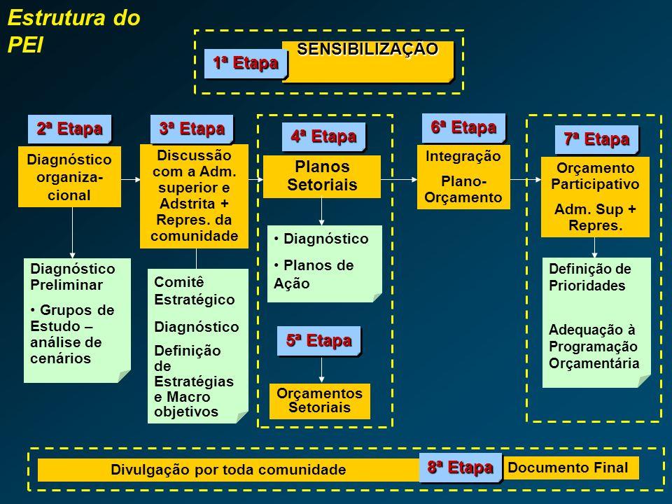 Estrutura do PEI SENSIBILIZAÇÃO 1ª Etapa 2ª Etapa 3ª Etapa 6ª Etapa