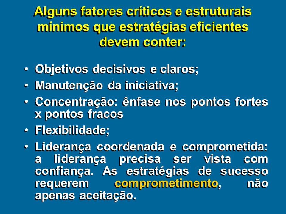 Alguns fatores críticos e estruturais mínimos que estratégias eficientes devem conter: