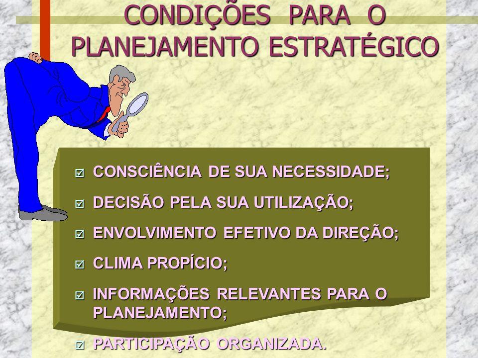 CONDIÇÕES PARA O PLANEJAMENTO ESTRATÉGICO
