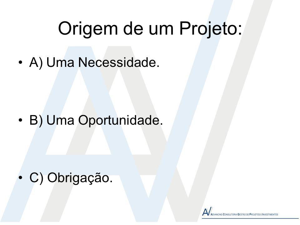 Origem de um Projeto: A) Uma Necessidade. B) Uma Oportunidade.