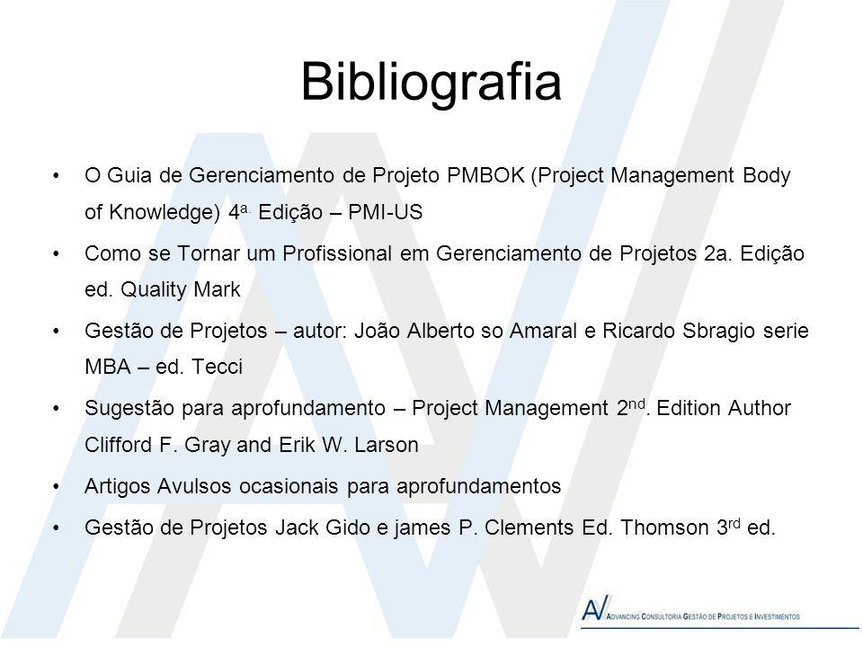 Bibliografia O Guia de Gerenciamento de Projeto PMBOK (Project Management Body of Knowledge) 4a. Edição – PMI-US.