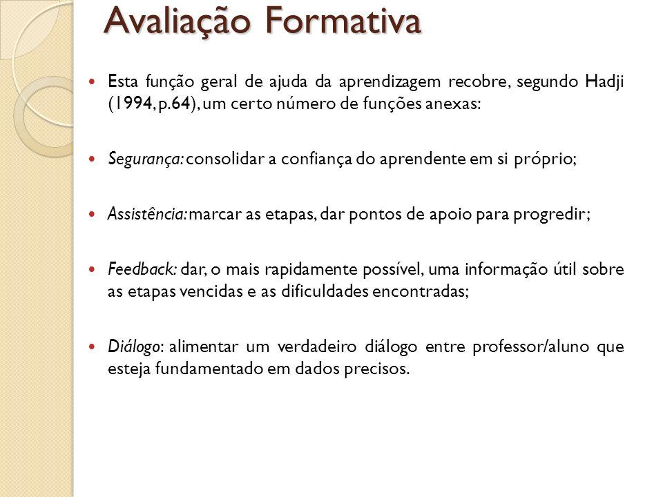 Avaliação Formativa Esta função geral de ajuda da aprendizagem recobre, segundo Hadji (1994, p.64), um certo número de funções anexas: