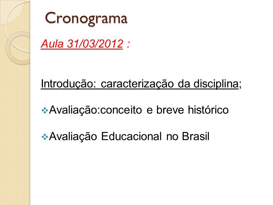 Cronograma Aula 31/03/2012 : Introdução: caracterização da disciplina;