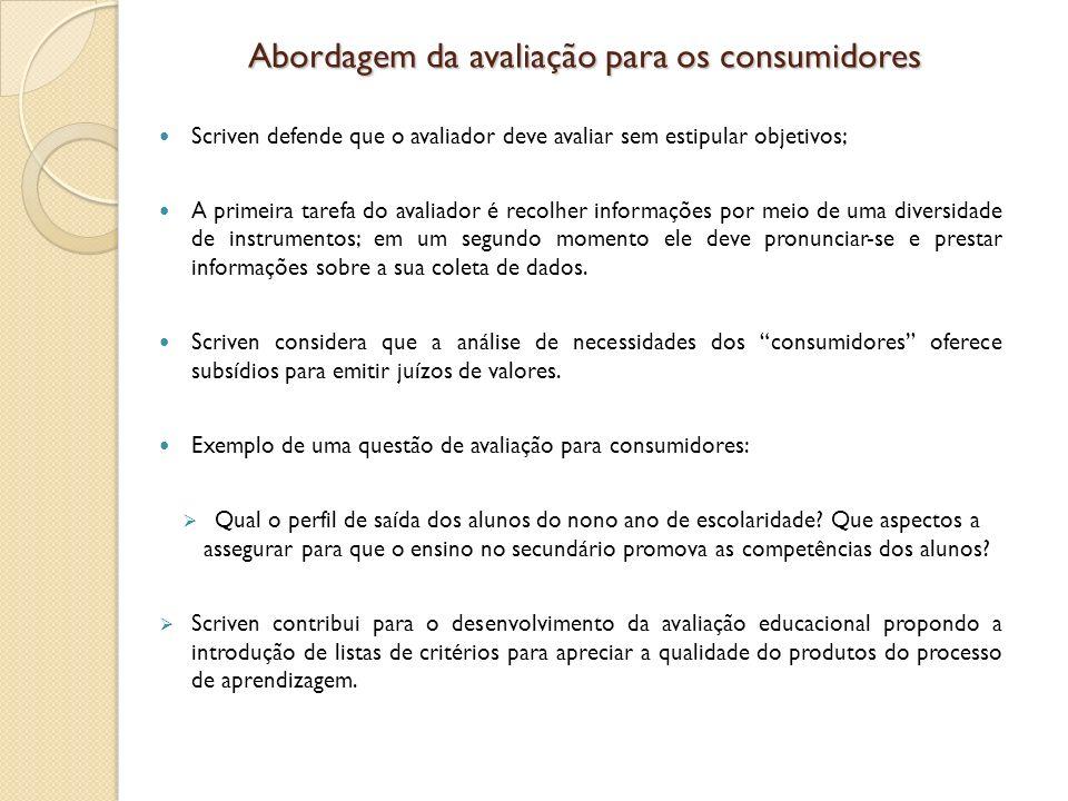 Abordagem da avaliação para os consumidores