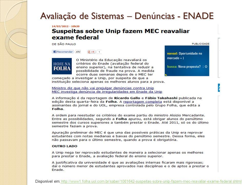 Avaliação de Sistemas – Denúncias - ENADE