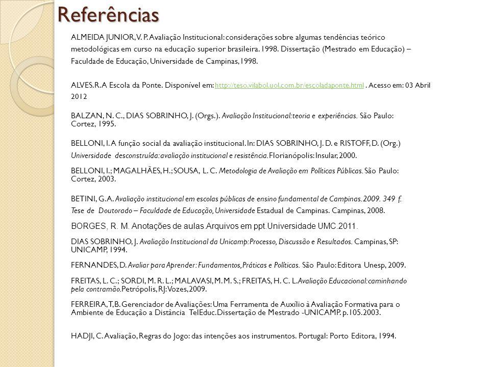 Referências ALMEIDA JUNIOR, V. P. Avaliação Institucional: considerações sobre algumas tendências teórico.