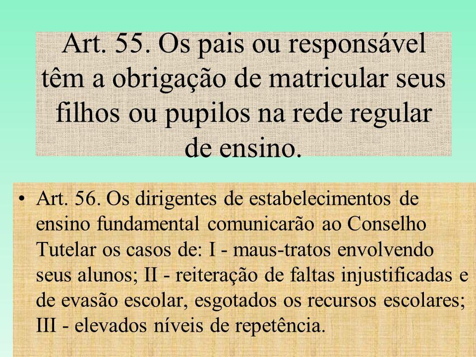 Art. 55. Os pais ou responsável têm a obrigação de matricular seus filhos ou pupilos na rede regular de ensino.