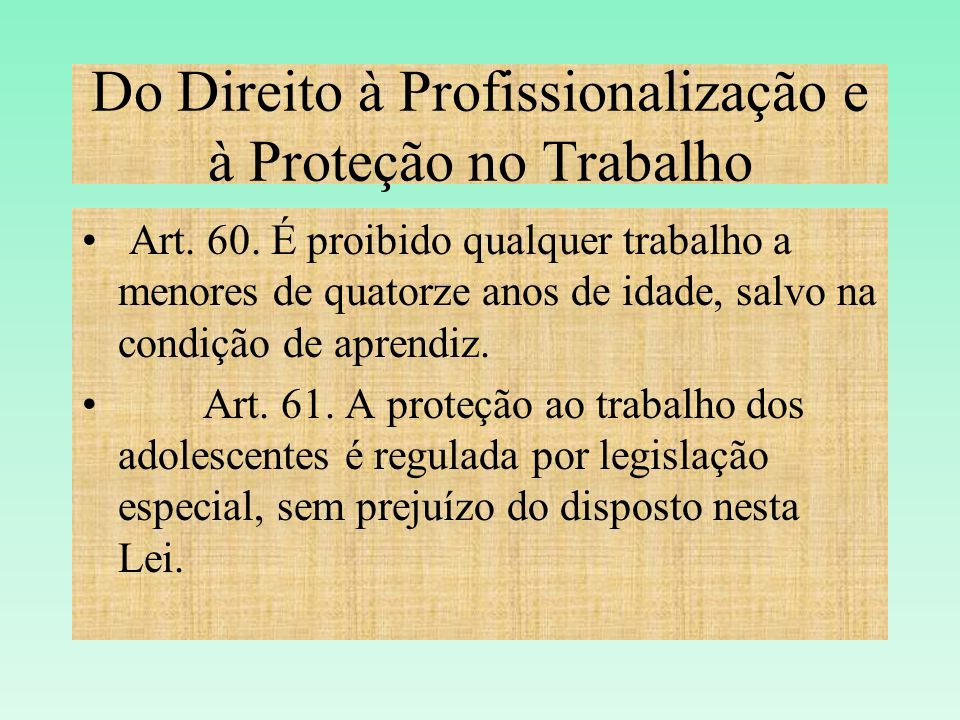 Do Direito à Profissionalização e à Proteção no Trabalho