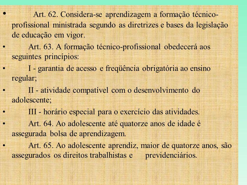 Art. 62. Considera-se aprendizagem a formação técnico-profissional ministrada segundo as diretrizes e bases da legislação de educação em vigor.