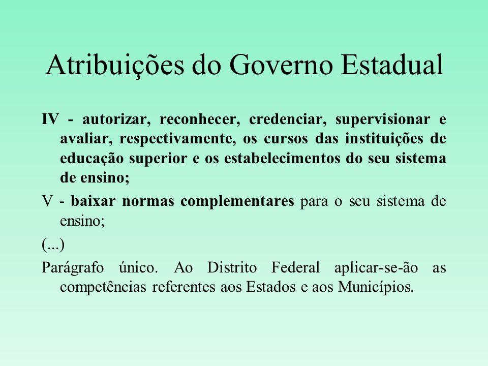 Atribuições do Governo Estadual