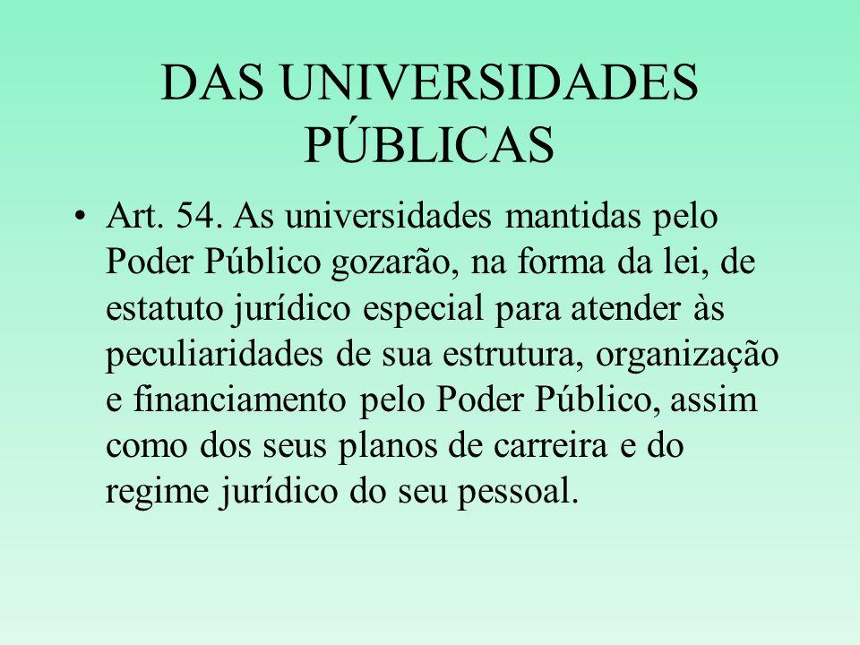 DAS UNIVERSIDADES PÚBLICAS