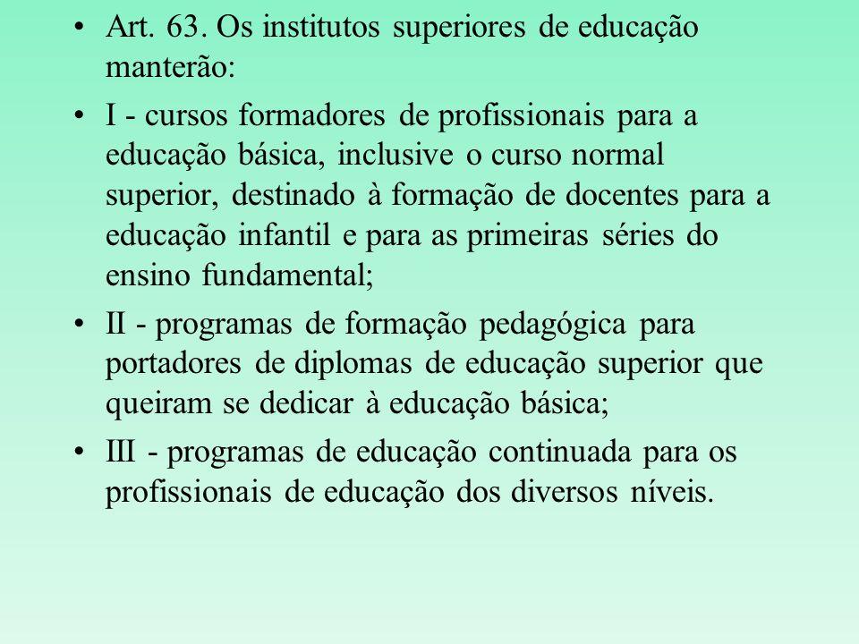 Art. 63. Os institutos superiores de educação manterão: