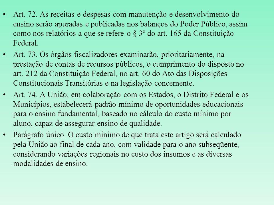 Art. 72. As receitas e despesas com manutenção e desenvolvimento do ensino serão apuradas e publicadas nos balanços do Poder Público, assim como nos relatórios a que se refere o § 3º do art. 165 da Constituição Federal.